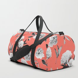 Peonies Mono Coral Duffle Bag