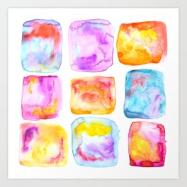 Watercolour Painting Squares In Vibrant Colours Art Print