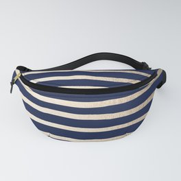 Drawn Stripes White Gold Sands on Nautical Navy Blue Fanny Pack