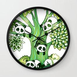 Green Panda Tree Wall Clock