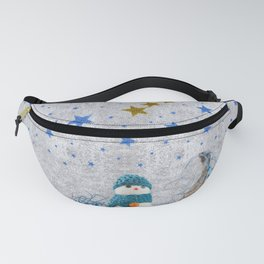 Snowman with sparkly blue stars Fanny Pack