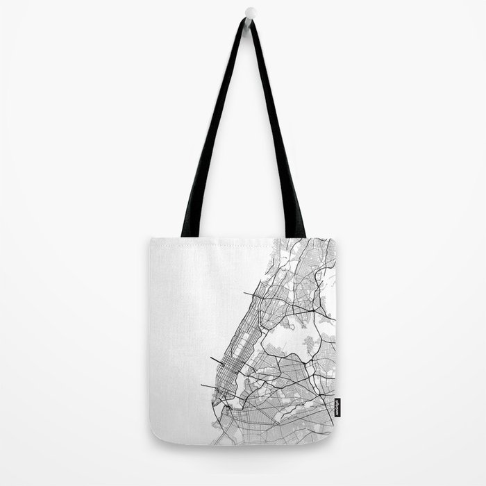 Minimal City Maps - Map Of Manhattan, New York, United States Tote Bag