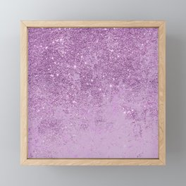Abstract glam violet lilac marble glitter Framed Mini Art Print