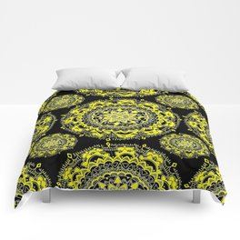 Black and Gold Regal Mandala Textile Comforters