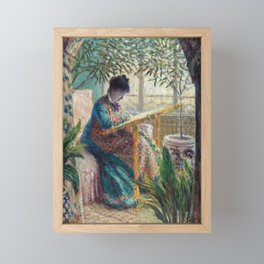 Madame Monet Embroidering by Claude Monet Framed Mini Art Print
