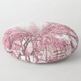 New York City - Central Park - Cherry Blossoms Floor Pillow