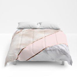 Spliced mixed rose gold marble Comforters