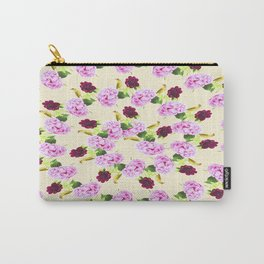 Spiral Pink Hydrangea Red Peony Wren Pattern Carry-All Pouch