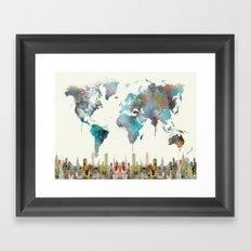 world travel map Framed Art Print