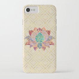 Watercolor & Gold paisley decorated lotus iPhone Case