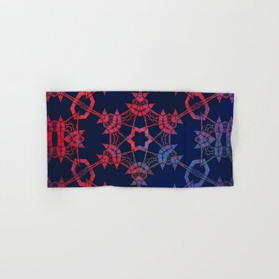 Blue and red glow tribal mandala Hand & Bath Towel