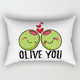Olive You | I Love You | Valentine's Day Heart Rectangular Pillow
