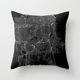 San Francisco Black Map Throw Pillow