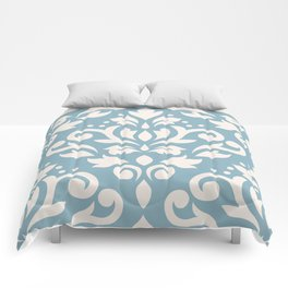 Scroll Damask Large Pattern Cream on Blue Comforters