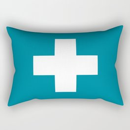 Swiss Cross Blue Rectangular Pillow
