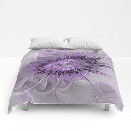 Lilac Fantasy Flower, Fractal Art Comforters