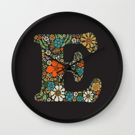 Hippie Floral Letter E Wall Clock