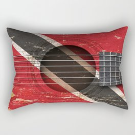 Old Vintage Acoustic Guitar with Trinidadian Flag Rectangular Pillow