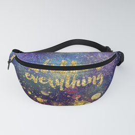 Glitter everything- Girly Gold Glitter effect Space Typography Fanny Pack