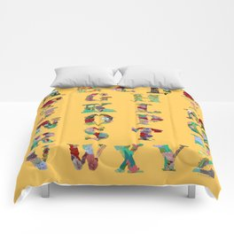 Floral Alphabet in Yellow Comforters