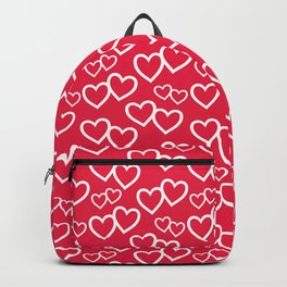 Red and White Hearts Repeated Pattern 089#001 Backpack