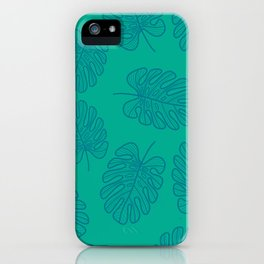 UrbanNesian Teal Monstera Leaf iPhone Case