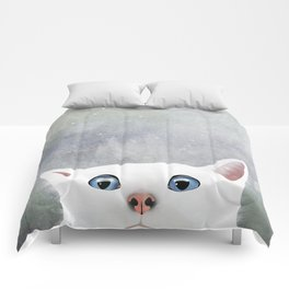 Curious White Cat Comforters