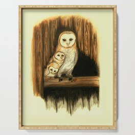 Barn Owl with Children Serving Tray