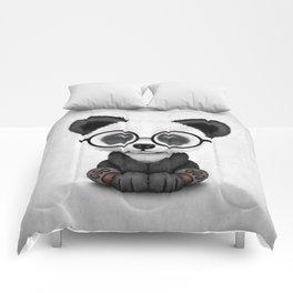 Cute Panda Bear Cub with Eye Glasses Comforters