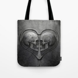 Gothic Skull Heart Tote Bag