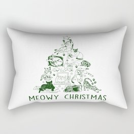 Meowy Christmas Cat Tree Rectangular Pillow