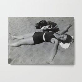 Vintage photo of sunbather on the beach Metal Print