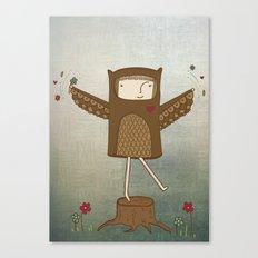 Little Owl Girl Canvas Print