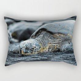 Turtle on a Black Sand Beach in Hawaii Rectangular Pillow