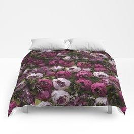 Dark and light pink peonies Comforters
