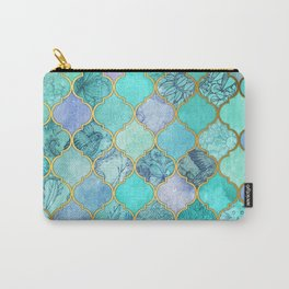 Cool Jade & Icy Mint Decorative Moroccan Tile Pattern Carry-All Pouch