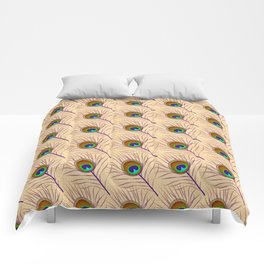 Peacock feather east ornament Comforters