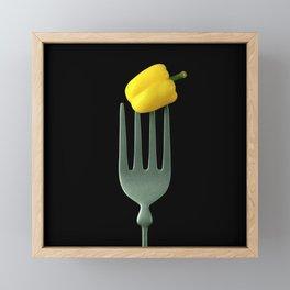 Yellow Pepper on Giant Fork Framed Mini Art Print