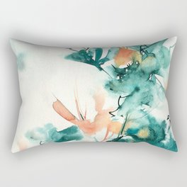 Teal and Coral Watercolor Lilies Rectangular Pillow