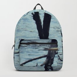 Great Egret White Bird Blue Water A107 Backpack