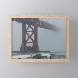Surfers under Golden Gate Bridge Framed Mini Art Print