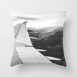 Mountain State // Colorado Rocky Mountains off the Wing of an Airplane Landscape Photo Throw Pillow