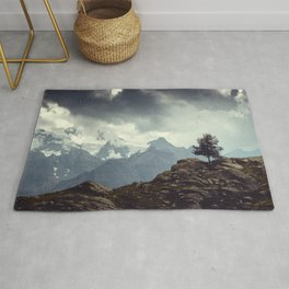Majestic Mountains and a lone tree Rug