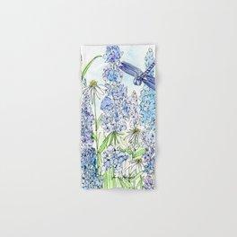 Watercolor Wildflower Garden Dragonfly Blue Flowers Daisies Hand & Bath Towel