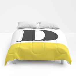 Monogram Letter D-Pantone-Buttercup Comforters