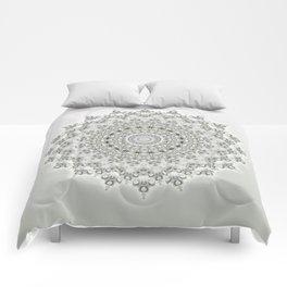 Mandala Flowers Grey Green Comforters