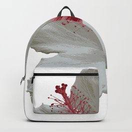 Pure White Hibiscus Tropical Flower Backpack