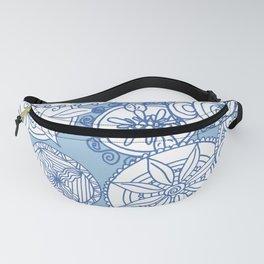 Floral Mandala Doodles - Blue Fanny Pack