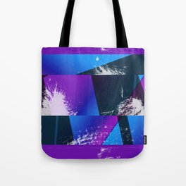 Purple and Cyan Abstract Glitch Collage Tote Bag