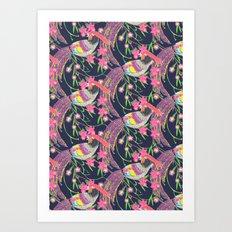 Paper Cut Birds [dark] Art Print